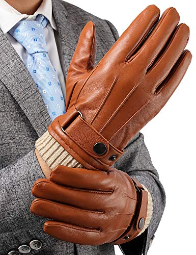 TALITARE Vollhand Touchscreen Handschuhe Herren Winter, Thinsulate-Isoliermaterial Lammfell Bequem Lederhandschuhe Herren für Fahrrad Fahren Laufen Hellbraun - B, S