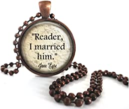 Little Gem Girl Jane Eyre Quote Reader I Married Him Antique Copper Necklace Ball Chain