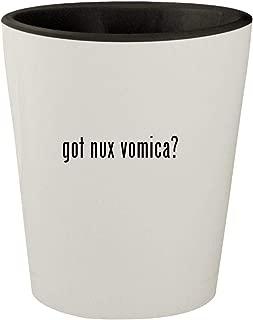 got nux vomica? - White Outer & Black Inner Ceramic 1.5oz Shot Glass