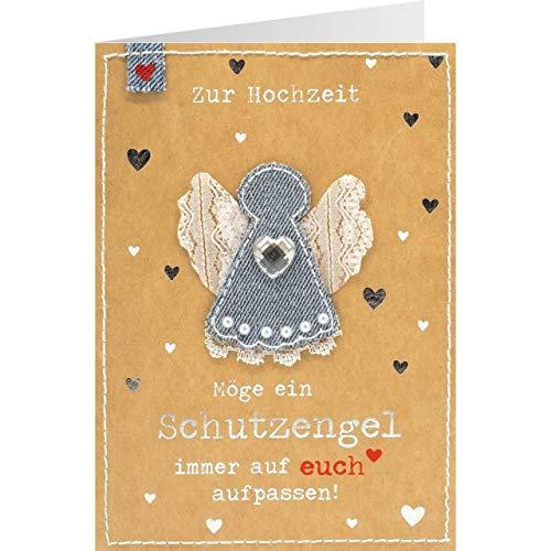 Sheepworld, Gruss und Co. - 90770 - Klappkarte, mit Umschlag, Jeans, Nr. 38, Zur Hochzeit Möge ein Schutzengel immer auf euch aufpassen!