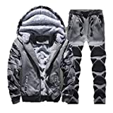 Fleece Men Hoodie Thick Sweatshirts Casual Hooded Cardigan Jacket Coat 5xl,DARK GRAY SET,L