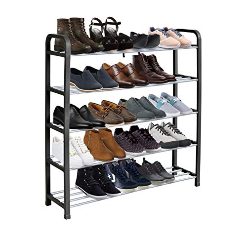 KEPLIN 5 Tier Shoe Rack Organiser, Heavy duty storage unit, Quick Assembly No Tools Required, Holds upto 15-20 pairs (L) 71cm x (W) 18cm x (H) 76cm (Black)