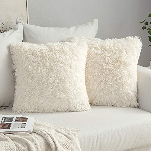 MIULEE Pack of 2 Faux Fur Throw Pillow Cover Fluffy Soft Decorative Square Pillow covers Plush Case Faux Fur Cushion Covers For Livingroom Sofa Bedroom 16'x16' Cream white