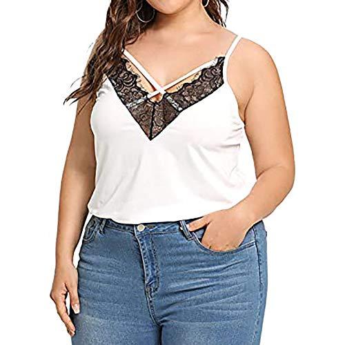 Blusas y camisas para mujer, tallas grandes, sexy, delgada, con encaje, cuello en V, informal, túnica suelta, para mujer, Reino Unido