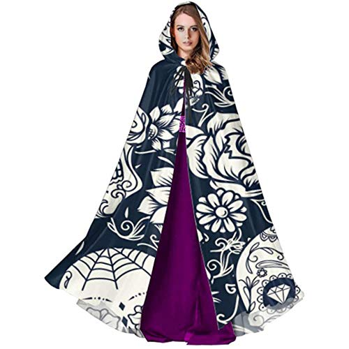 Devil Witch Wizard Cloak,Party Wizard Cape,Cloak With Hood,Halloween Cosplay Costume,Day Of The Dead Sugar Skull With Floral Ornament A Cape Cloak Toddler Hooded Cloak