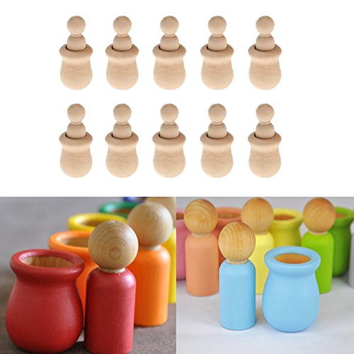 Hacloser 10Pcs/set Wooden Peg Dolls Unfinished, People Nesting Set DIY Craft For Paint Stain Ornament Decorations