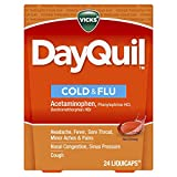Vicks DayQuil Cough, Cold, & Flu Multi-Symptom Relief, 24 LiquiCaps (Non-Drowsy) - Sore Throat, Fever, and Congestion Relief, Pack of 2