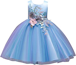 Hopscotch Girls Polyester and Cotton Sleeveless Applique Floral Net Party Dress in Blue Color