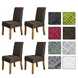 mewmewcat Funda elástica para silla de comedor, diseño de entramado de diamante sólido extraíble, lavable, para restaurantes de hotel, 4 unidades