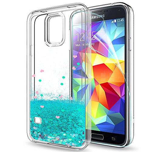 LeYi Hülle Galaxy S5 Glitzer Handyhülle mit HD Folie Schutzfolie,Cover TPU Bumper Silikon Flüssigkeit Treibsand Clear Schutzhülle für Hülle Samsung Galaxy S5 Handy Hüllen ZX Turquoise