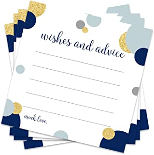 Abstract Advice Cards for Baby Shower, Wedding, Parties Navy and Gold (25 pack)