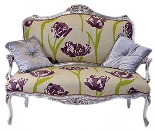Casa Padrino Barock Creme Blumen Muster/Silber - Italienischer Stil - Barock Möbel