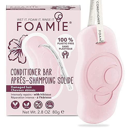 Foamie Fester Conditioner für geschädigtes und fettiges Haar mit Hibiskus-Extrakt, 100% vegan, plastikfrei, verleiht Kraft und Elastizität, 80g