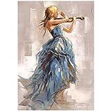 NIEMENGZHEN Druck auf Leinwand Moderne Wandkunst Leinwandbilder Mädchen spielt Geige Poster und Drucke Ballerina Mädchen Leinwand Kunstdrucke für Wohnzimmer 30 x 40 cm (11,8'x 15,7') Kein...