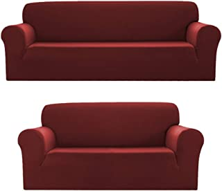 Sapphire Home 2pc SlipCover Set for Sofa Loveseat Couch, Form fit Stretch & Wrinkle Free, Furniture Protector Cover, Premium Fabric, Polyester Spandex, Slipcover Diamond 2pc, Burgundy