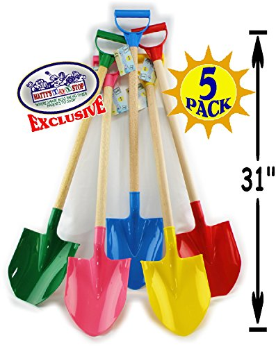 Matty's Toy Stop 31' Heavy Duty Wooden Kids Sand Shovels with Plastic Spade & Handle (Red, Blue, Green, Yellow & Pink) Complete Gift Set Bundle - 5 Pack