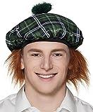 Boland Béret Mr Tartan avec cheveux, Vert, Taille unique