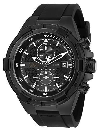 Invicta Men's Aviator Stainless Steel Quartz Silicone Strap, Black, 26 Casual Watch (Model: 28099)