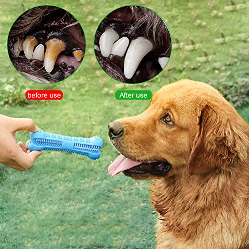 Emoly Dog Toothbrush Care Cleaning Stick - Dog Toothbrush Chew Toy Stick for Dog Dental Care- Safe, Bite Resistant Natural Rubber Toy Bone for Teeth Cleaning- Suitable for All Breed of Dogs (Blue)