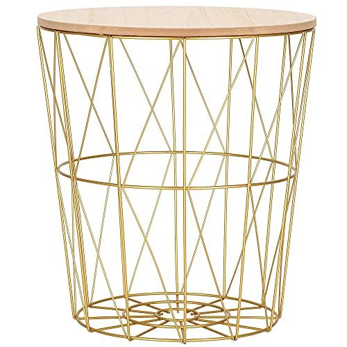 SPRINGOS cesta de alambre con tapa, mesa auxiliar, mesa de centro industrial, medidas: 35 x 30 cm (alto x ancho), mesa de alambre (dorado natural, 35 x 30 x 30 cm)