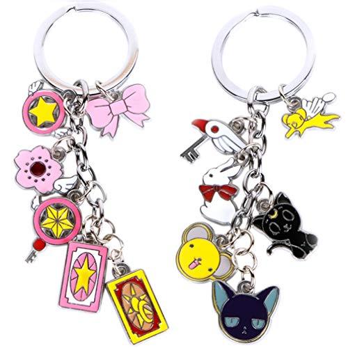 Schlüsselbund Schlüsselanhänger Keychain Schlüssel Ring Card Captor Sakura Zauberstab Anhänger Schmuck Kro Sakura Karte Stereo