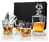 Decanter Set Crystal Whisky Decanter Sets, Bourbon Decanter con 4...