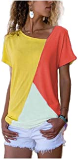 HEFASDM Womens T-Shirt Short Sleeve Colorblock Tee Tunic Blouse Tops