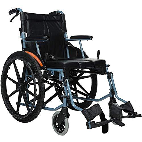 BXZ Silla de ruedas de transporte de aluminio con asiento de 46 cm - Silla de ruedas plegable para transporte y almacenamiento - Ruedas traseras de 22 pulgadas para una conducción más suave, capacida