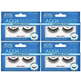 Ardell Aqua False Strip Lashes 345, Water Activated Fake Lashes, Eye Makeup Enhancement, No Lash Glue Required, 4 Pack