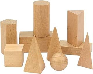 Wooden Geometric Solids, 10 sets of geometric teaching aids,Montessori Solid geometric model mathematics educational toy