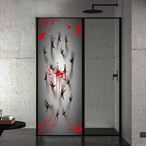 Deur Sticker Bloedige Geest Handdruk Wallpapers 3D Driedimensionale Gepersonaliseerde Deur Decoratie Decal Art Decor