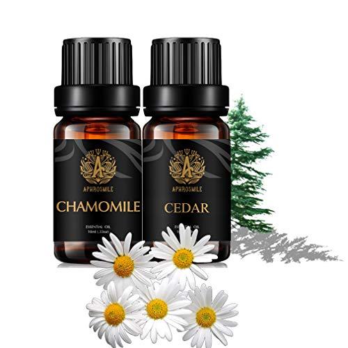 Aromaterapia Cedro aceite esencial set para difusor, 2x10ml 100% puro manzanilla Aceites Esenciales Kit para Humidifier-cedro, manzanilla aceites esenciales, manzanilla aceites Kit, aceites Cedar set