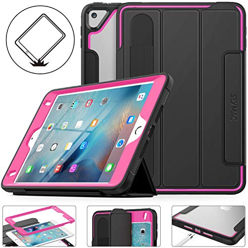iPad Mini 5/4 Case, Shockproof Protective Smart Magnetic Mini 5th Case with [Screen Protector] Stand [Clear Backing] [Pencil Holder] Feature for iPad Mini 5th 2019/ Mini 4th 2015 (Black/Rose)