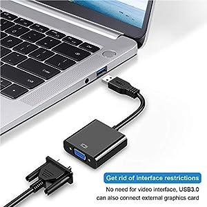 USB to VGA Adapter,USB 3.0 to VGA Adapter Multi-Display Video Converter- PC Laptop Windows 7/8/8.1/10,Desktop, Laptop, PC, Monitor, Projector, HDTV