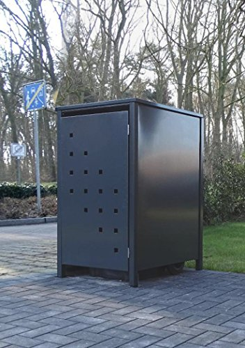 Srm-Design 1 Mülltonnenbox Modell No.3 für 120 Liter Mülltonnen/komplett Anthrazit RAL 7016 / witterungsbeständig durch Pulverbeschichtung/mit Klappdeckel und Fronttür