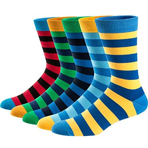 Ueither Calcetines Estampados Hombre Casuales Divertidos Calcetines altos de Colores con Algodón Fino, multicolore,Talla 42-48