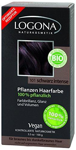 LOGONA Naturkosmetik Coloration Pflanzenhaarfarbe, Pulver - 101 Schwarz Intense - Black, Natürliche & pflegende Haarfärbung (100g)