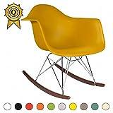 MOBISTYL 1 x Fauteuil à Bascule Rocking Chair Eiffel Pieds Bois Vernis Noyer Assise Moutarde RARD-MU-1