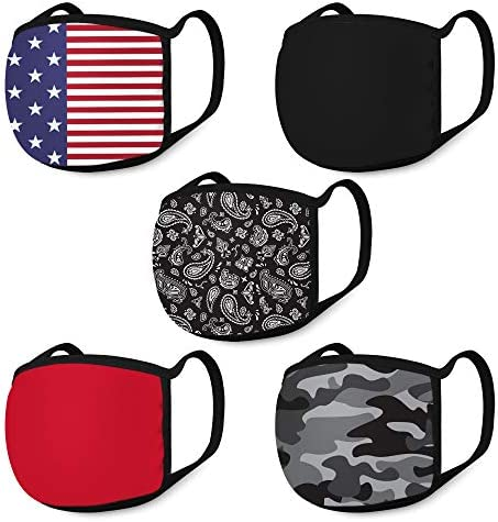 ABG Accessories Men s Face Mask Reusable Protective Face Masks 5 Pack Black Camo product image