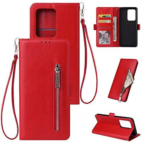 Happy-L Caso Custodia da Portafoglio in Pelle Samsung Galaxy S20 Ultra, PU, Custodia per Smartphone in Stile Flip Orizzontale per (Color : Red)