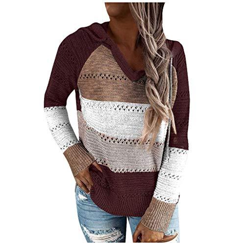SHOBDW Sudadera para Mujeres Cuello Alto Jersey Cárdigan Sexy Elegante Camiseta Larga Jersey Pullove Casual Jersey Vestido de Manga Larga de otoño Invierno de Moda