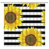 AMFD Sonnenblumen-Duschvorhang schwarz & weiß gestreift gelb Blume hell Floral kreativ prägnant Badezimmer Gardinen Dekor schnell trocknend Polyestergewebe 178 x 178 cm inklusive Haken