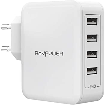 RAVPower Chargeur USB Secteur Mural 40W 4 Ports USB 5V / 8A Max Total (2.4A Max par Port) avec Technologie iSmart 2.0 Adaptateur Secteur USB Universel pour iPhone XS / XS Max / XR / 8 - Blanc