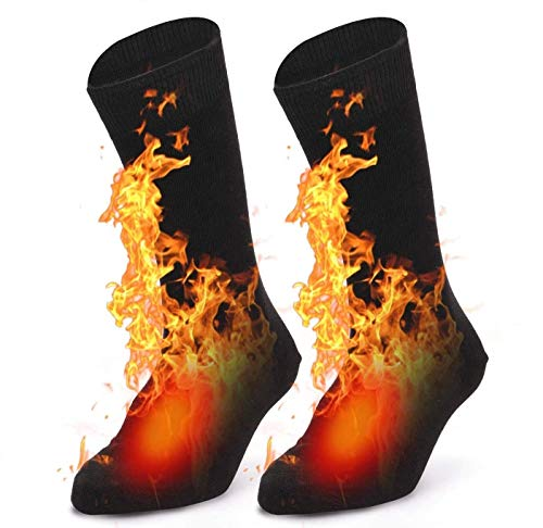 Heated Socks, Electric Heating Socks for Men Women, Winter Warm Cotton Socks for Winter Outdoor Sport Camping, Fishing, Cycling, Motorcycling, Riding, Skiing- Black