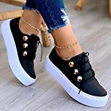 Women's Lace-up Leatherette Flat Heel Sneakers, Women's Sneakers Muffin New Platform Sneakers, Women Athleitc Shoes Running Walking Tennis Shoes Non-Slip Fashion Sneakers (Mate, 8.5)