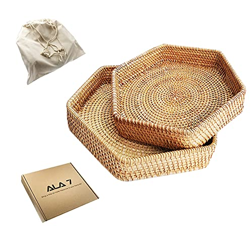 ALA7 Handmade Hexagon Rattan Serving Tray for Bread Fruit, Decorative Organizing Nesting Candle Tray, Tabletop Display Storage Basket Home Decor for Coffee Table Bathroom Living Room (Set of 2)