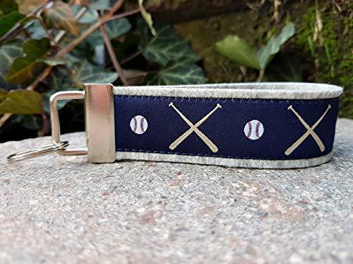 Schlüsselanhänger Schlüsselband Filz hellgrau Webband Baseball blau beige rot Geschenk!