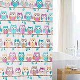 Cortina de ducha de PEVA con anillas, 180cm x 180cm, diseño de peces, delfín, rayas, flores,...