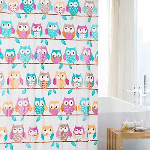 Cortina de ducha de PEVA con anillas, 180cm x 180cm, diseño de peces, delfín, rayas, flores, búhos