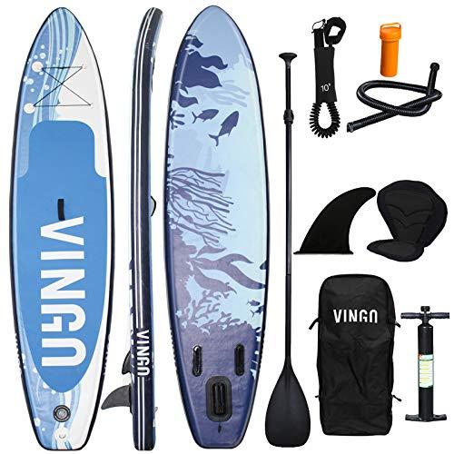 VINGO Juego de tabla de surf ligera de 6 pulgadas de grosor, tabla SUP, tabla de surf hinchable, con asiento de kayak, bolsa de transporte, aletas, bomba de aire, kit de reparación